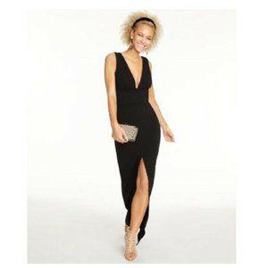 B Darlin 0 Black Deep V Split Slim Dress RetagAU61